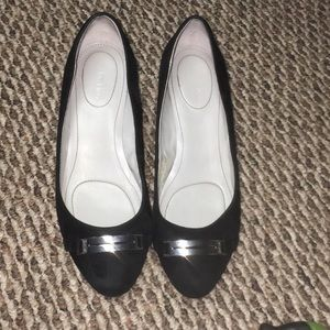 Calvin Klein Silver Stapped Low Heels